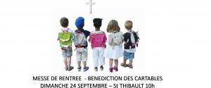 messe de rentrée bénédiction des cartables