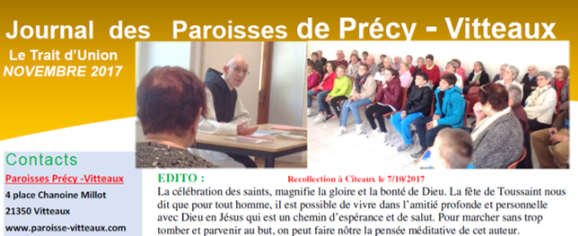 paroisse de vitteaux trait d'union novembre 2017 catholique