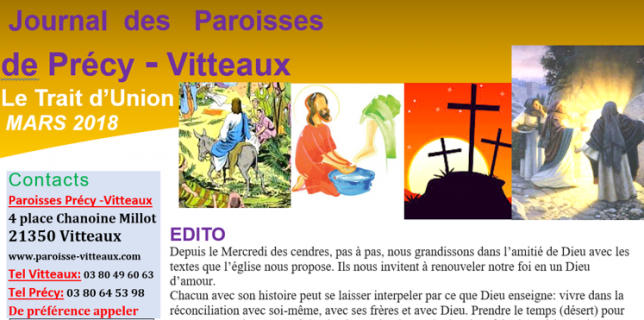 Paroisse de Vitteaux catholique trait d'union Mars 2018
